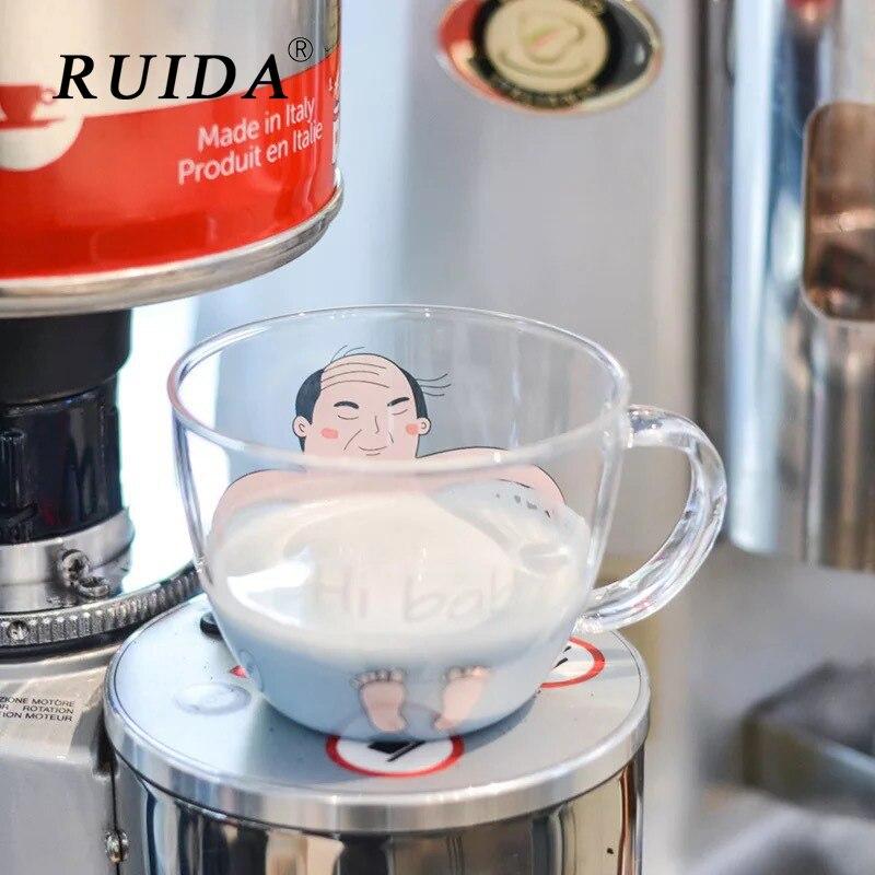 RUIDA Ins Creative Glass Breakfast Milk Cup Cat Cup Dog Cute Styling Coffee Mug Home Hotel Japanese style Drinkware Funny Gift