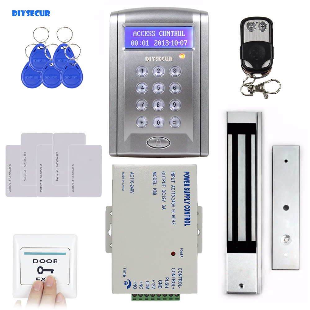 DIYSECUR Remote Control 280kg 600 LBs Kit Electric Magnetic Door Lock Access Control RFID 125KHz ID Card Security System BC200 diysecur waterproof 125khz rfid card reader access control 280kg waterproof electric magnetic lock access control security kit