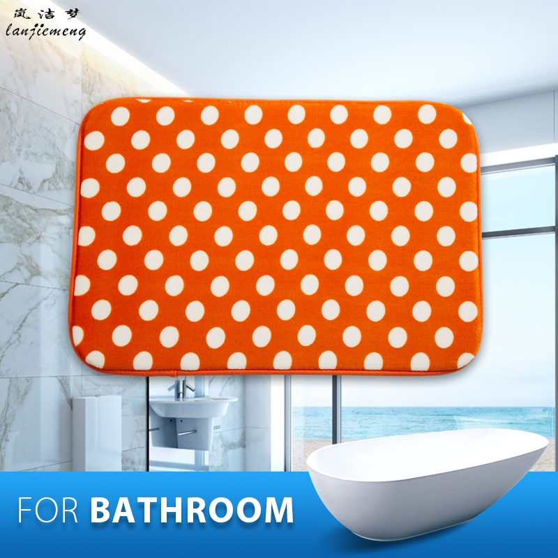 Dot Anti Slip Bathroom Mats Foam Memory Orange Bath Mat Polyester Carpet Toilet Tapete Water