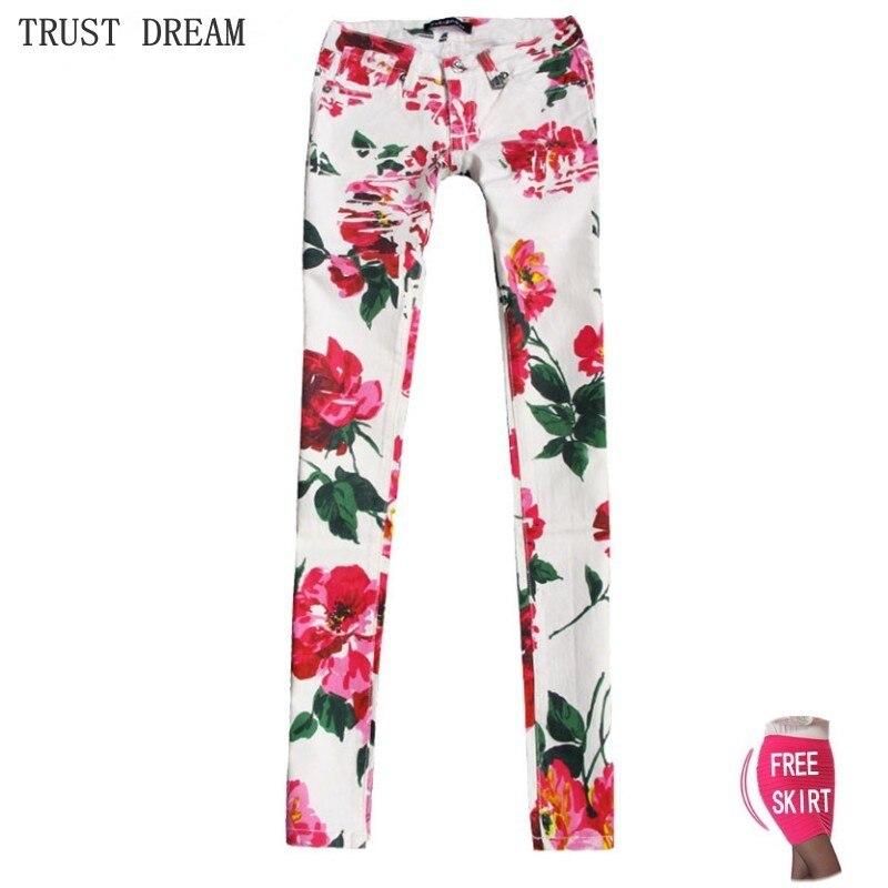Haute Qualité Paris Style Femmes Imprimé Skinny Jeans Imprimer Motif Fleur Rouge Sexy Coloré De Mode Personnel Féminin Mince Jean