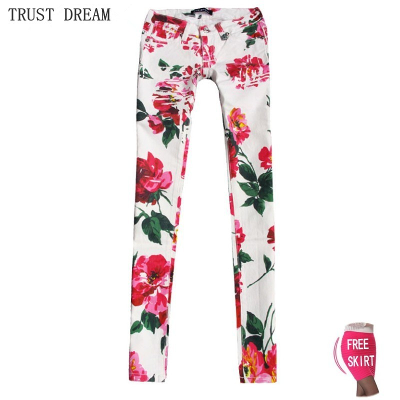 High Quality Paris Style Women Printed Skinny Jeans Print Pattern Red Flower Sexy Colorful Fashion Female Personal Slim Jean