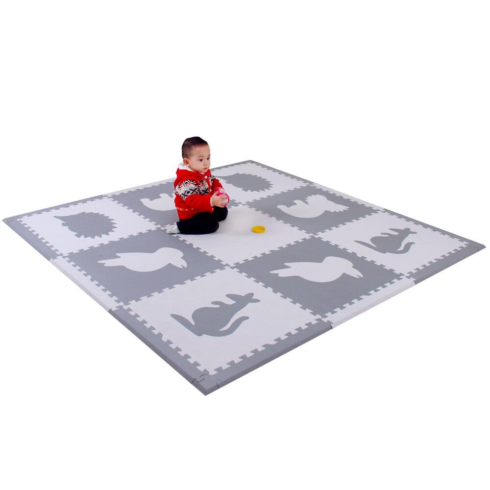 Mei qi cool animaux tapis de mousse animaux tapis de jeu ensembles bébé maison tapis de jeu enfants jouer Puzzle tapis 9 pièces chaque ensemble 60x60cm * 1.4 cm - 6