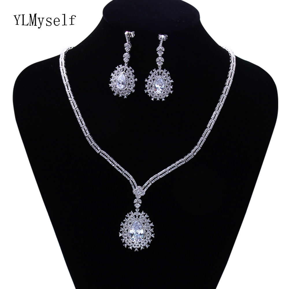 Trendy Necklace Earrings 2pcs jewelry set for party Big water drop CZ crystal fast shipping beautiful excellent jewelry setsTrendy Necklace Earrings 2pcs jewelry set for party Big water drop CZ crystal fast shipping beautiful excellent jewelry sets