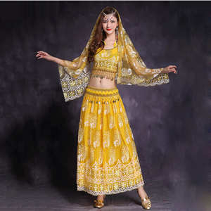 Image 4 - 5 Pcs Belly Dance Costume Bellydance performance Gypsy Indian Dress Dancewear Belly Dance Bollywood Dance Costumes