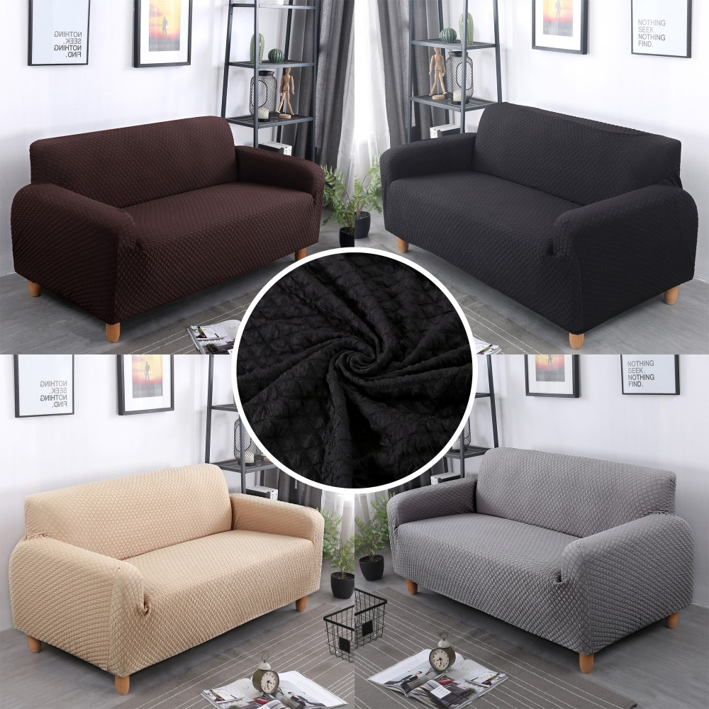 US $30.59 30% OFF|Solid Color Jacquard Sofa Cover Four Seater Spandex  Elastic Black Slipcovers Thick Sectional Stretch All inclusive Towel  Couch-in ...