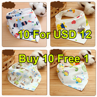 Buy 10 Free 1 Baby Bibs High Quality Triangl Double Layers Cotton Baberos Cartoon Character Animal