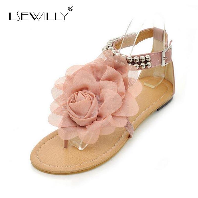 Lsewilly Gladiator Sandals For Women Bohemia Beaded Summer Flower Flat Heels Flip Flops Women's Shoes Tstraps Sandals 34-43 S004