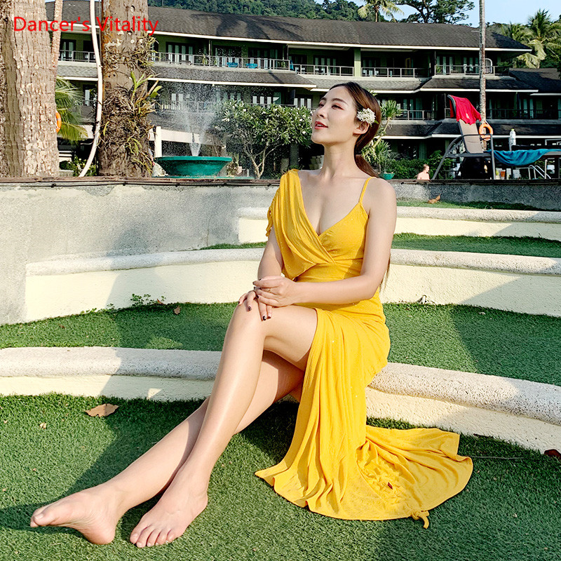 Nouveauté danse du ventre longue femmes jupe Performance danse du ventre danse orientale porter spectacle briller avec Long voile rouge jaune kaki