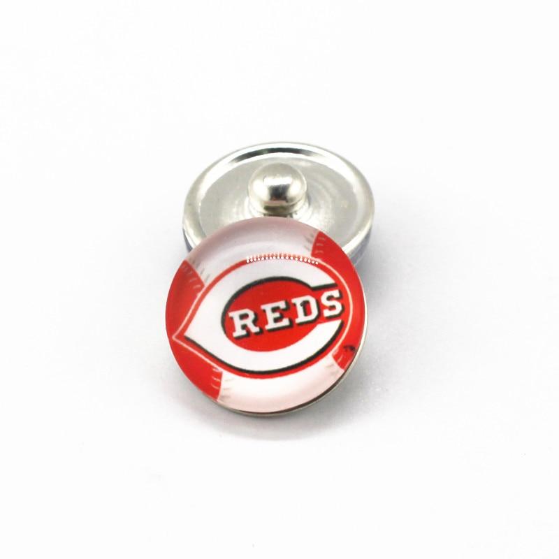 Newest 20pcs/lot MLB Baseball Cincinnati Reds 18mm Glass Snap Buttons Team Sports Charms Fit Snap Jewelry Bracelets&Bangles