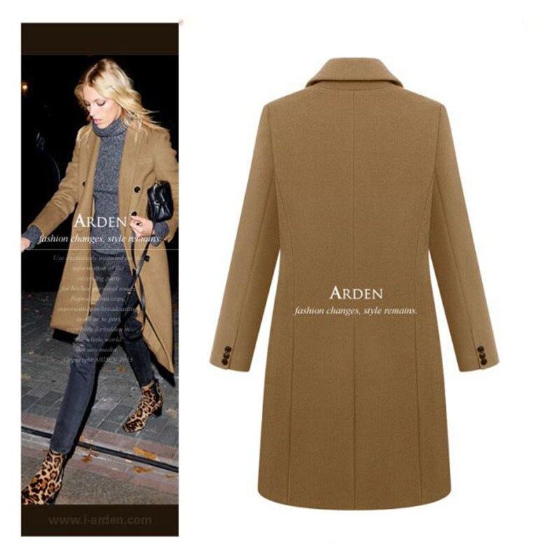 Autumn Winter Coat Women 19 Casual Wool Solid Jackets Blazers Female Elegant Double Breasted Long Coat Ladies Plus Size 5XL 7
