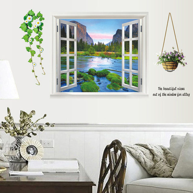3D effect window Landscape wall stickers Living Room bedroom wall decals window poster wall paper poster  sc 1 st  AliExpress.com & 3D effect window Landscape wall stickers Living Room bedroom wall ...
