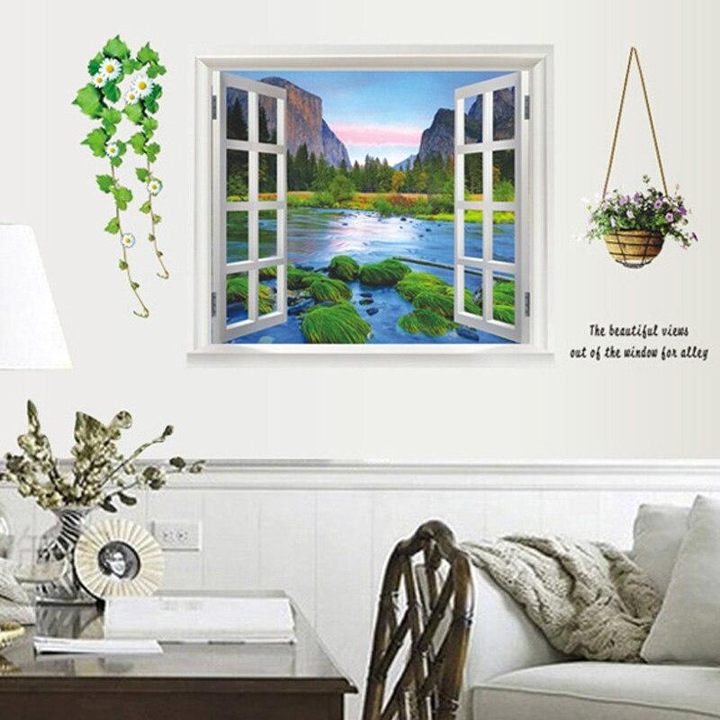 US $4.79 8% OFF 3d effekt fenster Landschaft wandaufkleber Wohnzimmer  schlafzimmer wandtattoos fenster poster wand papier poster-in Wandaufkleber  aus ...