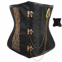 Women's Vintage Gothic Steampunk Underbust Corset Sexy Steel Boned Corsets and Bustiers with Chains Waist Cincher