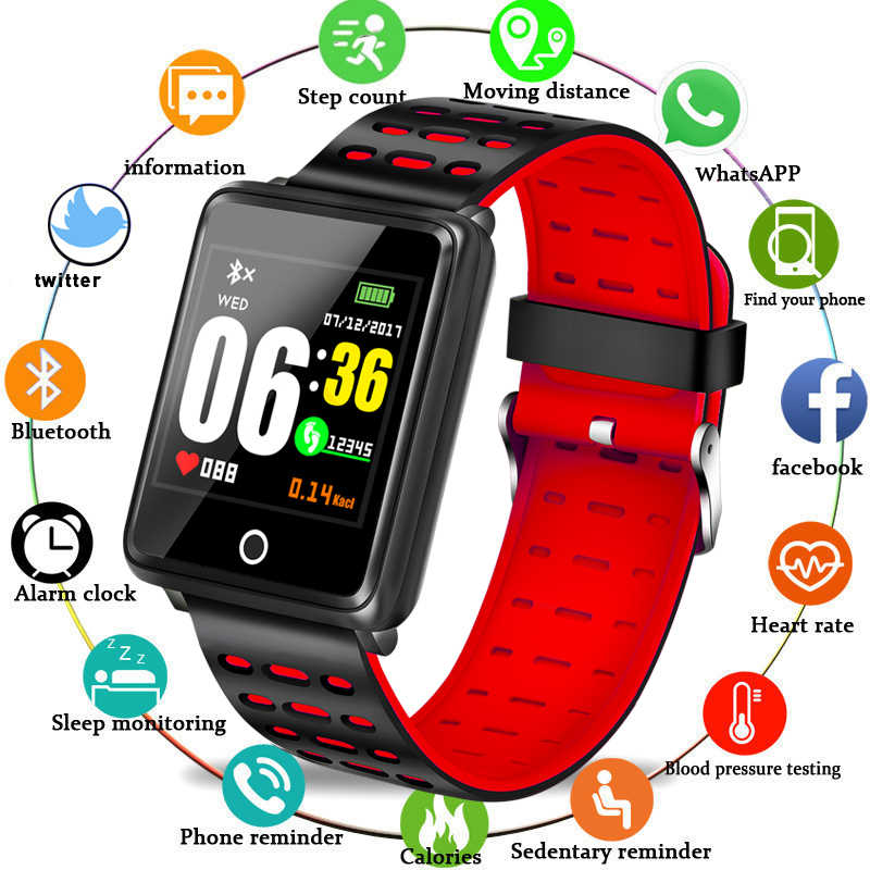 LIGE 2019 New Men Women Smart Sport Watch Fitness Tracker Pedometer Blood Pressure Heart Rate Blood oxy Monitor Smart Band+Box