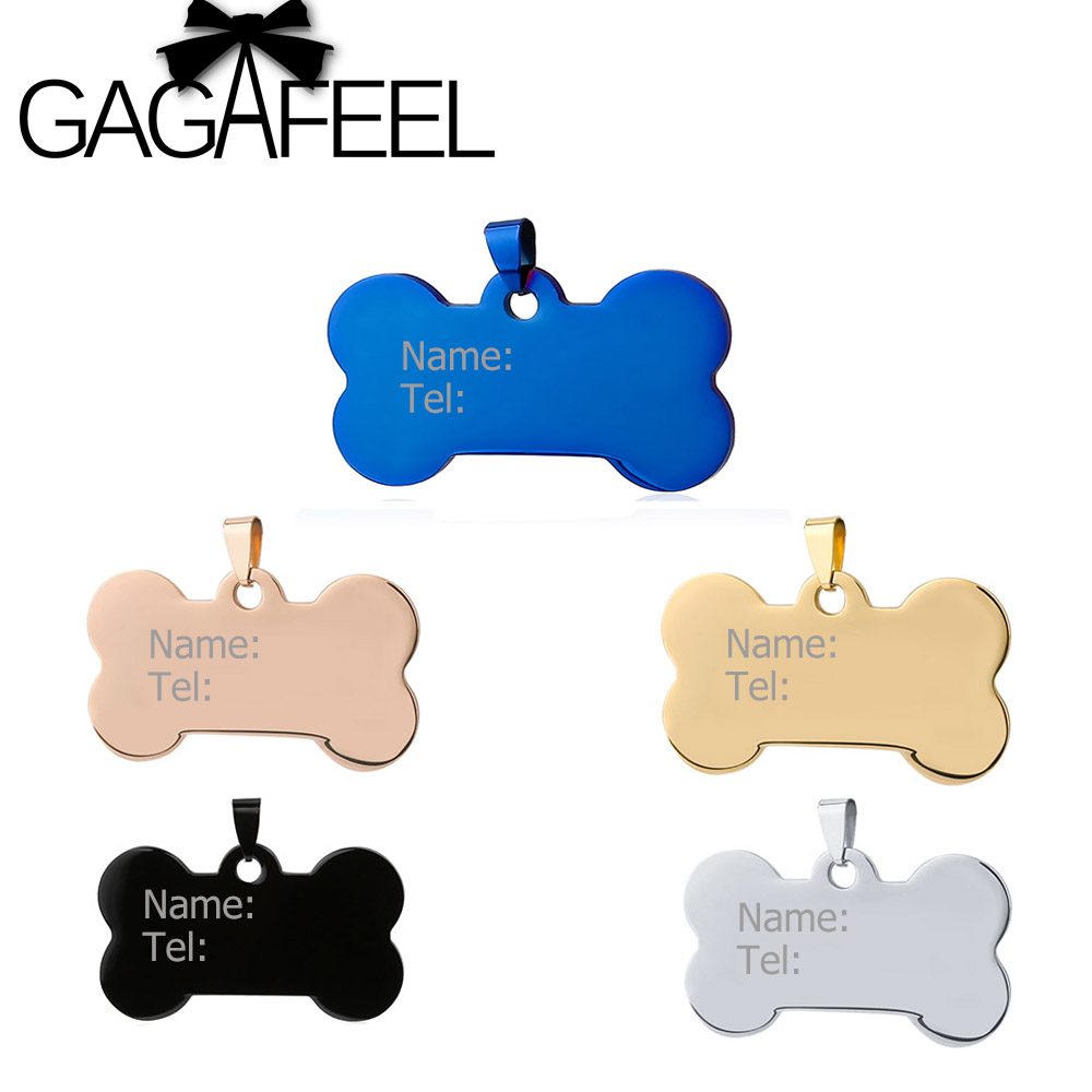 GAGAFEEL Stainless Steel Neklace Personalized Engrave Text Pet ID tags Dog Tag Identification Customized Name Address telephone ...