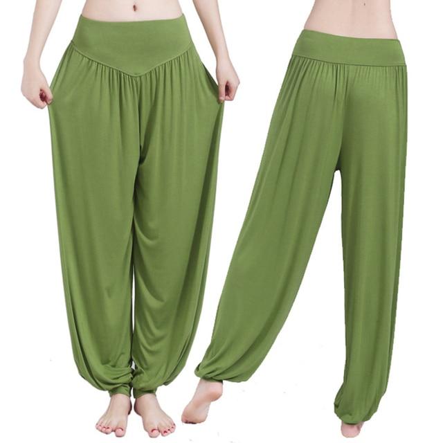 Women Harem Pants Casual Loose Cotton Solid Elastic Waist Wide Leg Pants Plus Size Loose Long Bloomers Trousers 15 Colors RE2402