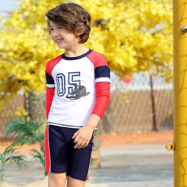 44d8024650 3-piece Set Boy's Swimwear Swimsuit Kids Swimming Suit Rash Guard UV  Protection Long Sleeve UPF50+ Long Sleeve Shirt Trunks Cap