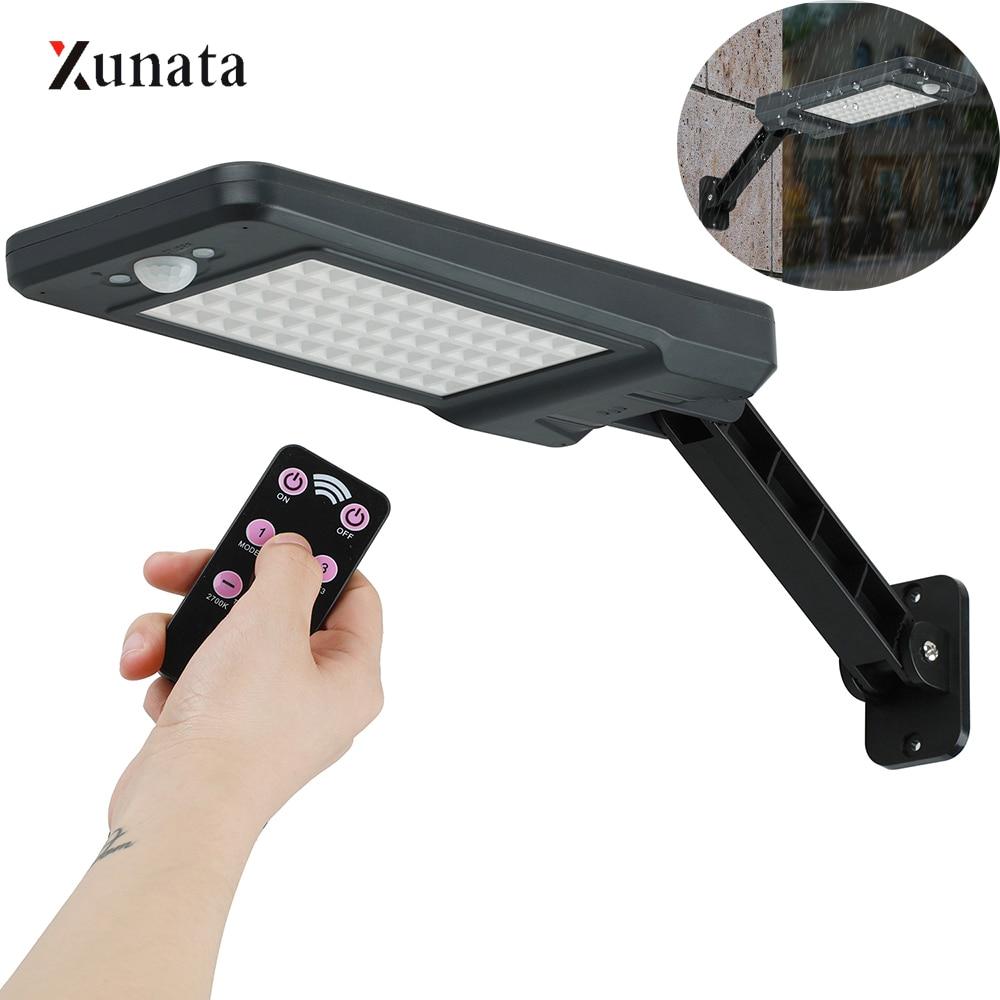 XUNATA 60 LED Street Light Motion Sensor Solar Street Light 3 Modes Outdoor Light Wall Lamp + Remote  Energy Saving For Garden