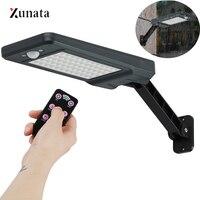 XUNATA-60 مصباح شارع LED مع مستشعر حركة ، يعمل بالطاقة الشمسية ، 3 أوضاع إضاءة ، مصباح خارجي ، مصباح حائط ، موفر للطاقة عن بعد للحديقة