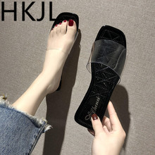 HKJL 2019 Summer Flat Clear Shoes Women Transparent Slippers Slides Fashion Open Toe Outside Beach slippers A041