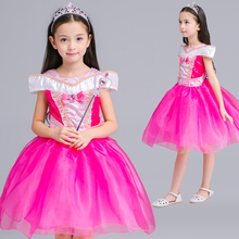 Girls Princess Aurora Drop Shoulder Costume Dress Pageants Party Fancy