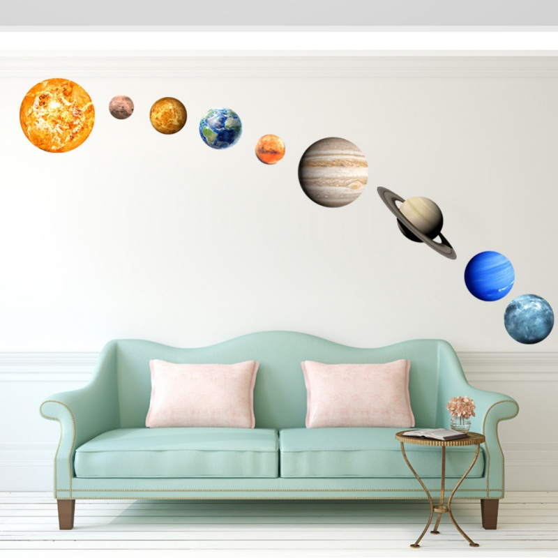 Cute Sun Jupiter Saturn Neptune Uranus Earth Venus Mars Mercury Glowing Planets Wall Stickers Solar System Decals For Kids Room ...