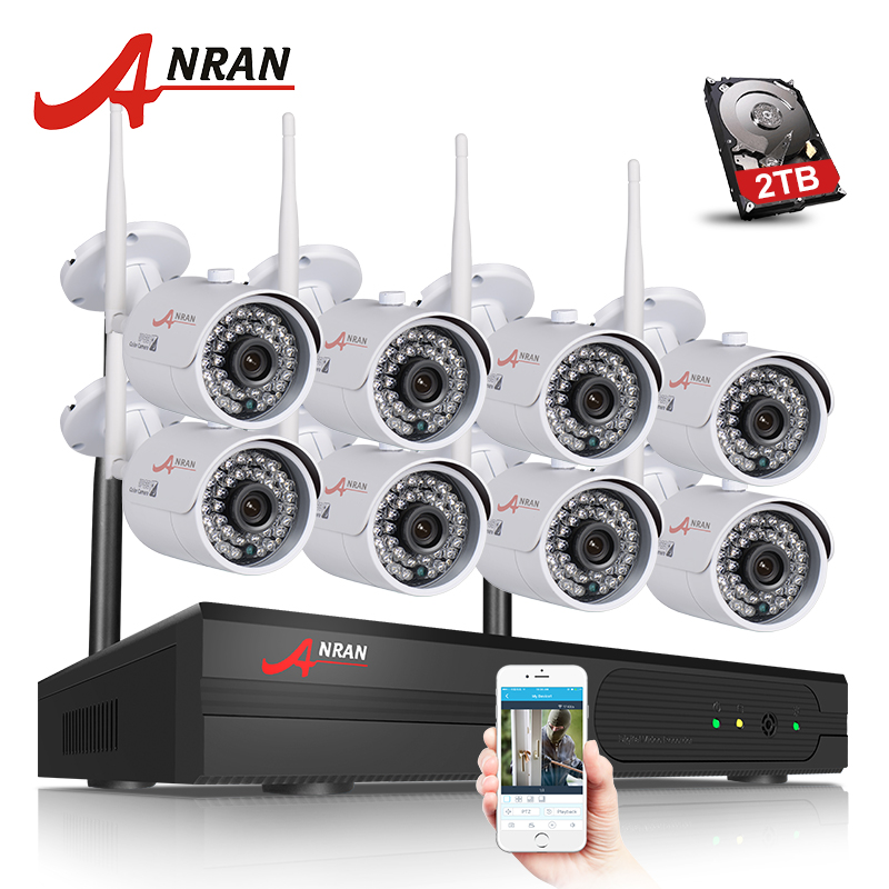 Plug And Play 8CH CCTV System Wireless NVR Kit P2P 720P HD IR WIFI IP Camera Outdoor Security Camera Surveillance System 2TB HDD anran plug and play 8ch wireless nvr surveillance kit p2p 720p hd outdoor ir night vision security ip camera wifi cctv system