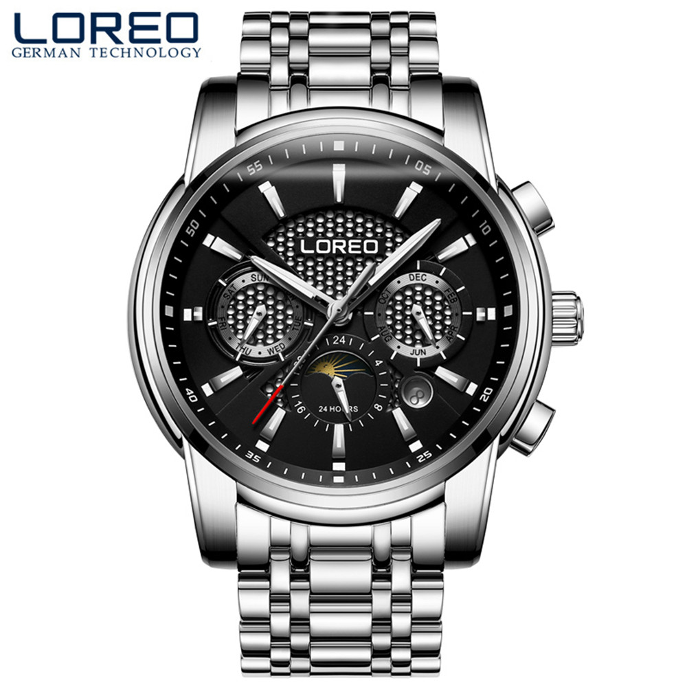 6 hand Mechanical LOREO 2019 Fashion Watch Men Automatic Self-Wind Clock Metal Strap Multifunction Calendar Sports Mens Watches