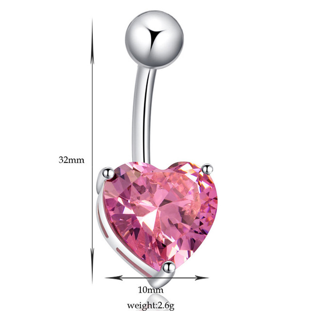 Gold / Silver Plated Surgical Steel Belly Button Ring with Heart Zircon Crystal