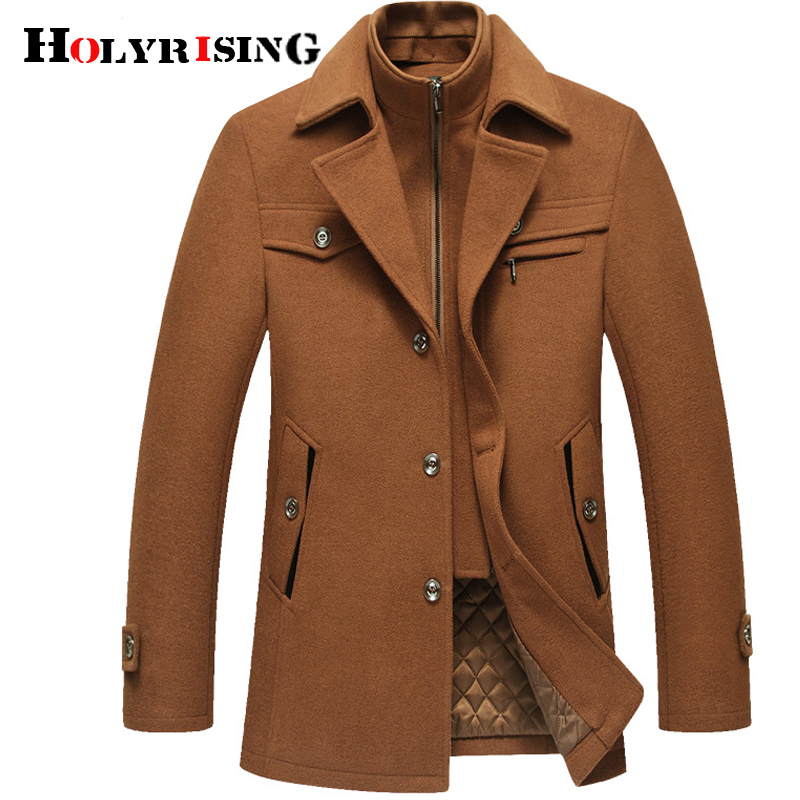Winter New Men s Long Sleeve Jacket Traditional Chinese Tang Suit Autumn Embroider Woolen Coat Mandarin