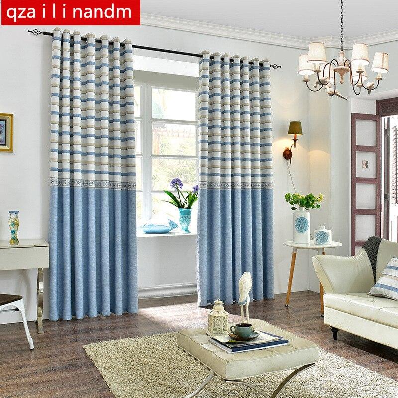 US $8.48 47% OFF|Mittelmeer Gestreiften Vorhänge Blau Welle Fenster  Schlafzimmer Tüll Vorhänge für Wohnzimmer Vorhänge Küche Sheer Stoffe ...
