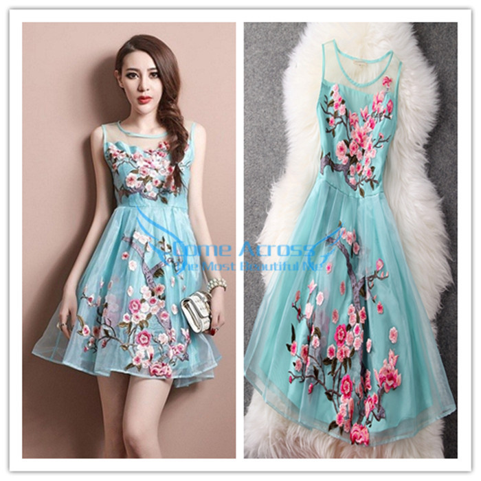 Top Quality 2014 Summer New Plus Size Chinfun Flowers Embroidery Women Dress Fashion Designer