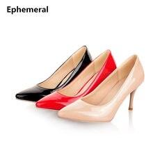 41a9109b73 2018 Senhoras tamanho grande 34-47 sexy elegante salto alto Bombas dedo do  pé pontudos sapatos de casamento bege/preto/vermelho/.
