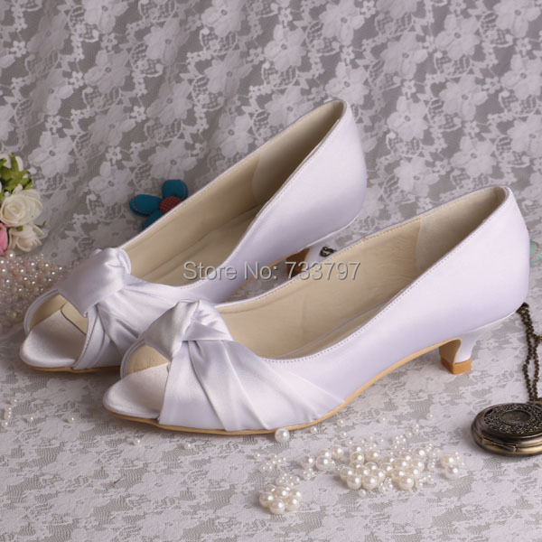 (20 Colors)Elegant Bridal Shoes White Heels Low Women Shoes Open Toe