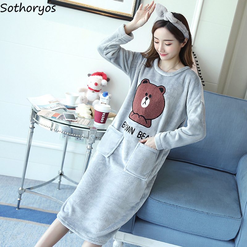Nightgowns   Women Long Casual Pockets Cartoon New Korean Warm Trendy Thicken Womens Sleepwear Kawaii Soft Ladies   Sleepshirt   Daily