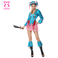 Mavi Brokar Ceket Pembe Dantel Etek Fantezi Elbise Şapka Cosplay Korsan Kostüm Yetişkin Kadınlar Için Cadılar Bayramı Kostümleri Déguisement