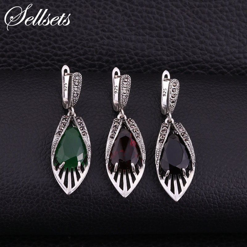 Sellsets Vintage Silver Color Leaf Earrings Pave CZ Rhinestone And Red Green Black Resin Fashion Women Jewlery a suit of vintage rhinestone leaf necklace and earrings for women page 5