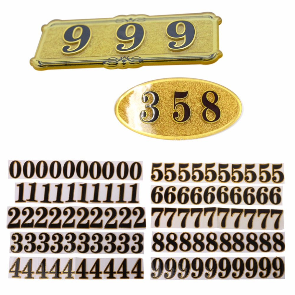 10PC DIY Door Number Room Plate Address Office Home House Number 0-9 Hotel Sign 2016new room house number free shipping number bar number coffer shop number door part