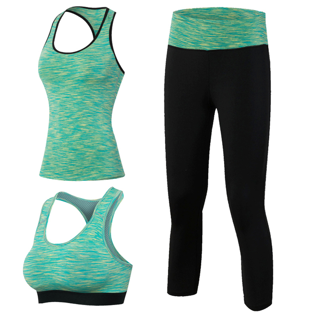 3pcs Fitness Yoga Tracksuit for Women Sleeveless Sport Shirt Gym Bra Tops Trousers Girl Sport Suit Gym Pants Green Yoga suits