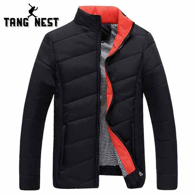 TANGNEST Autumn Winter Men Coat 2017 New Design Men's Fashion Jacket Stand Collar Warm Jacket 5 Solid Colors Asian Size MWM902
