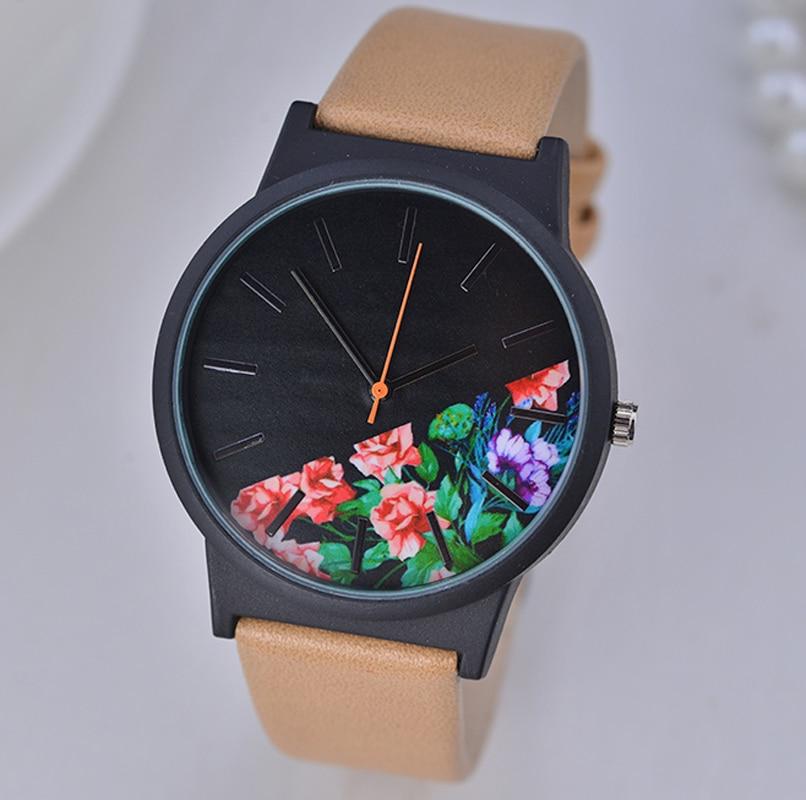 Fashion Printing Flowers Dial Women Watches Luxury Brand Ladies Quartz Watch Wrist Watch Relogio Feminino Reloj Mujer Hodinky