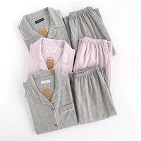 Full Lenth Cottton Pajamas Set Summer Tops Trousers for Women Solid Color Pink Grey Lady Sleepwear Suit pijamas de las mujere