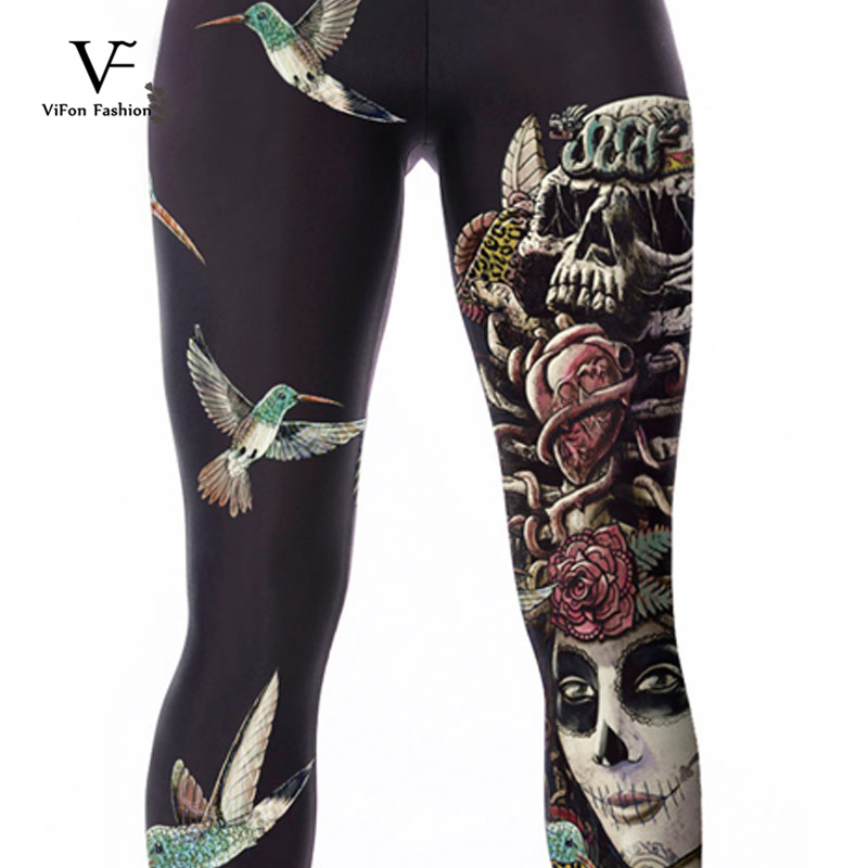 9076cb1453f9e Women Bird Skeleton Skull Digital Printing Fitness Running Jogging Gym Yoga  Tights Elastic Sports Pants Workout Gym Clothes-in Running Socks from  Sports ...