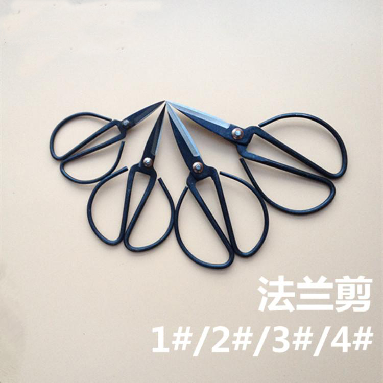 High Quality Forged Carbon Steel Scissors Handmade Vintage Scissor Black Coated Household Gardening Trimmer