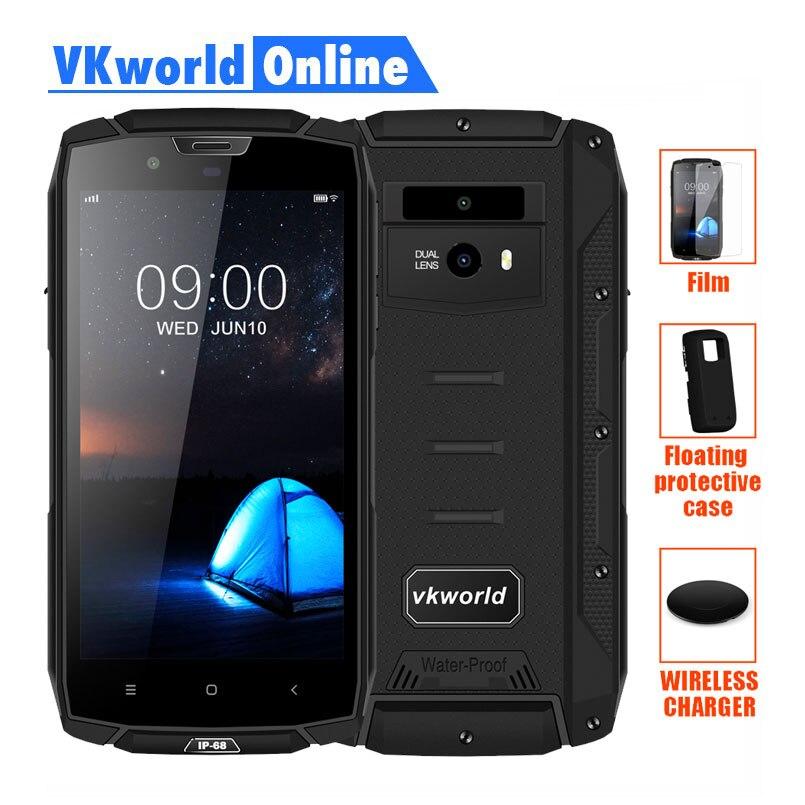 Vkworld VK7000 Acidentada telefone celular À Prova D' Água 5.2 MTK6750T Octa Núcleo Rosto Carga Sem Fio ID 4 GB RAM 64 GB ROM 5600 mAh Celular