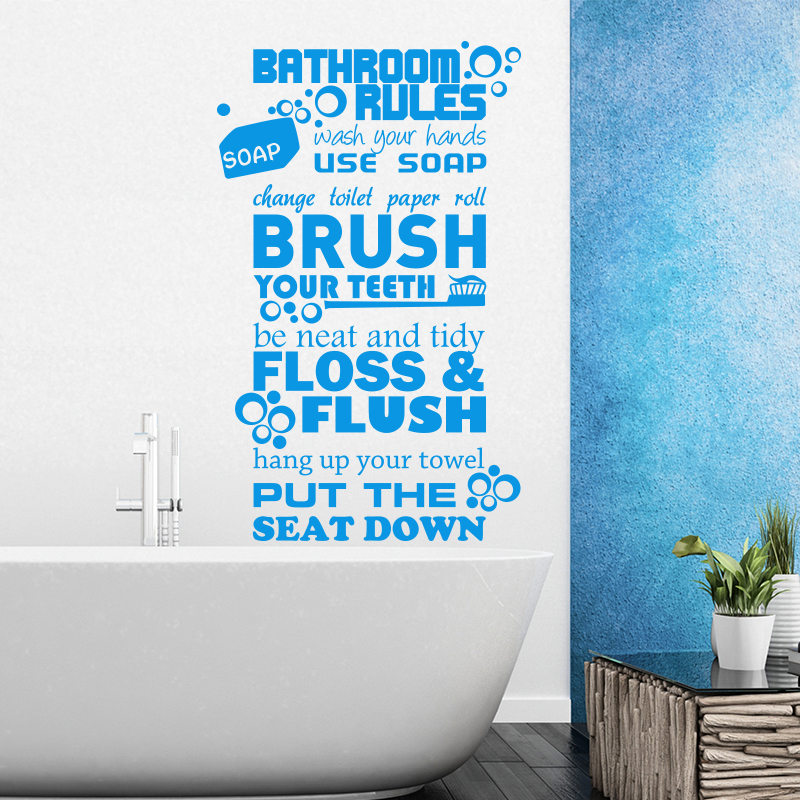 Art Design Bathroom Rules For Kids Quote Wall Sticker Home Decor Vinyl  Toilte WC Rules Wall Decals Family Wall Decals M822