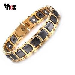 Vnox Top Quality Men's Magnetic Bracelet Bangle Black Ceramic Chain Link free Adjustment Length Tool