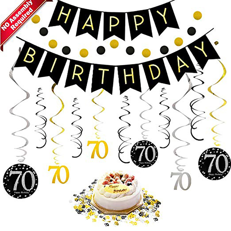 <font><b>70th</b></font> <font><b>Birthday</b></font> Party Decorations Kit For Men Women Black Gold Happy <font><b>Birthday</b></font> Banner Hanging Swirls Circle Dots Hanging Decoration image