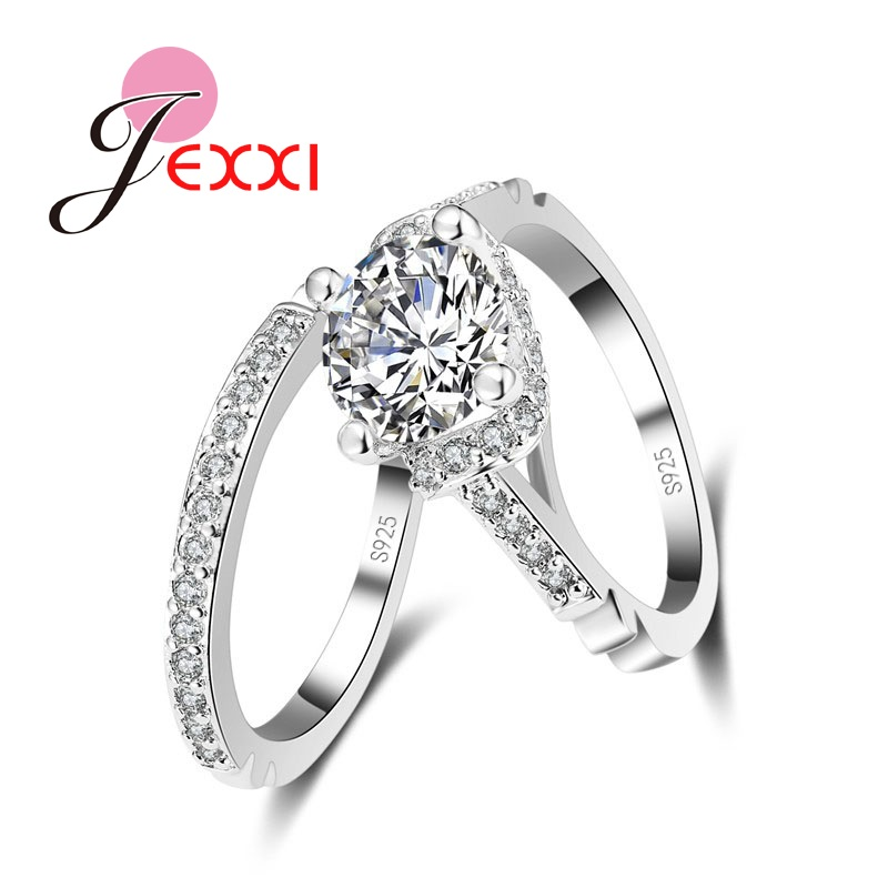 JEXXI Woman Fashion 925 Stamp Sterling Silver Wedding Engagement Rings Low Price Hot Sale Rings Set Free Shipping Lady Gift