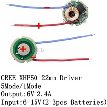 1 PCS Cree XLamp XHP50 XHP50.2 6 V LED Driver 22 MM DC7V 15V Input 2400mA Uitgang 5 Modus/1 mode/3 Modus Voor XHP50 LED Licht Lamp